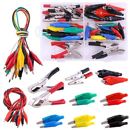 Hilitchi Pro Alligator Clips Assortment Kit Including Insulated Double-Ended Clips Test Leads & Flat/Barrel Alligator Clip & Clamps Alternatives Set for Experiment, Testing (Pack of 63)