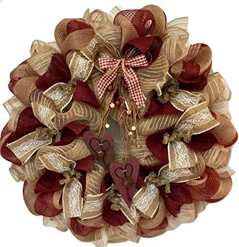 Country Burlap Valentines Day Deco Mesh Wreath With Rustic Bells and Berries