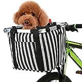Lixada Cesta Plegable para Bicicleta con Estampado de Flores,Pequeña Mascota/Gato/Perro/Bolsa para Transporte,Cesta de Manillar de Bicicleta Desmontable (A)
