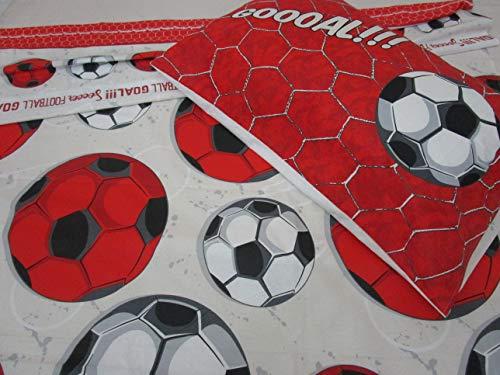 Juego de sábanas para cama individual, diseño de equipo de fútbol, color rojo/negro, 100 % algodón de fibra natural, fabricado en Italia.