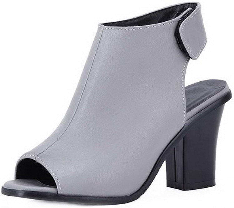 AllhqFashion Women's High-Heels PU Solid Hook-and-Loop Peep-Toe Sandals