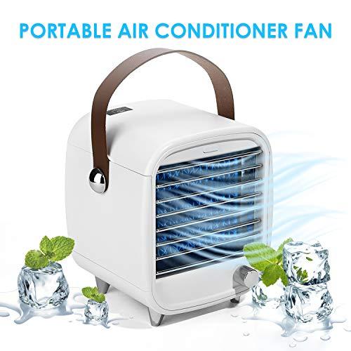 Tragbarer Luftkühler, Mini-Lüfter für persönliche Klimaanlage, geräuschloser Verdunstungsluftkühler, Desktop-Lüfter mit LED-Licht, tragbarer Lüfter für stufenlose Geschwindigkeit für Heim/Büro