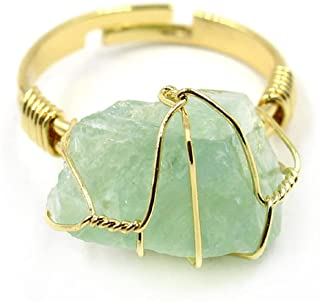 caiyao Handmade Colorful Irregular Gemstone Natural Rhinestone Stone Crystal Wire Wrapped Adjustable Joint Knuckle Finger ...