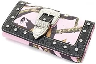 JP Camo Bling Rhinestone Belt Buckle Trifold Ladies Womens Wallet