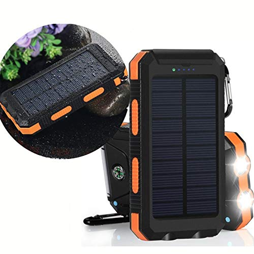 AEU Cargador Solar Portátil Power Bank Solar 20000Mah, Batería Externa Solar con Carga Rápida 2 Salidas USB Y Linterna LED Y Brújula Y Mosquetón IP65 Impermeable, para Smartphones Y iPad