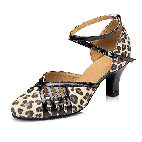 Honeystore Neuheiten Frauen's Leopard Heels Absatzschuhe Moderne Latein-Schuhe mit Knöchelriemen Tanzschuhe LD075 Braun 43 CN