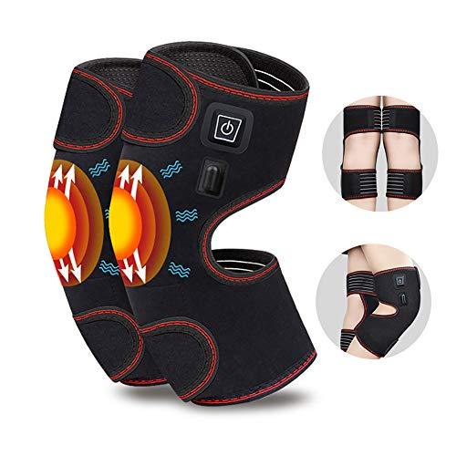 Rodilleras de masaje térmico para hombres y mujeres, rodillera calefactada vibratoria para rodilleras, esguinces de rodilla, alivio del dolor con bancos de energía