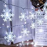 [2 Pezzi] BrizLabs Luci di Natale Interno, 40 LED 4M Catena Luminosa Fiocco di Neve a Batteria Luci Stringa Natalizie Esterno Decorazione Per Camera Matrimonio Partito Giardino, Bianco Freddo