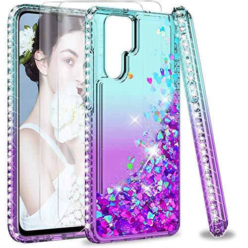 LeYi Case for Huawei P30 Pro/P30 Pro New Edition with 2 PET Screen Protector, Girl Glitter Liquid Cute Clear Silicone Shockproof Tough Hard Phone Cover for P30 Pro/P30 Pro New Edition Green Purple