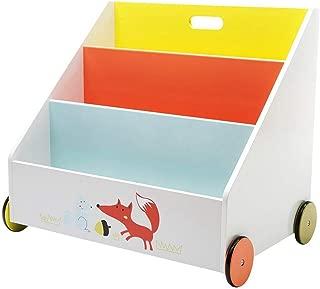 Hessie Little Toddler Kids Portable Wooden Bookcase/Bookshelf on Wheels, Book Storage/Shelf, Library Furniture - White Fox (Trapeziodal Shape)