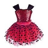 Lito Angels Vestido de Ladybug para Niña Disfraz de Mariquita de Halloween Fiesta de Cumpleaños Carnaval Festival Falda Tutu de Lunares Rojos Talla 3 a 4 Años