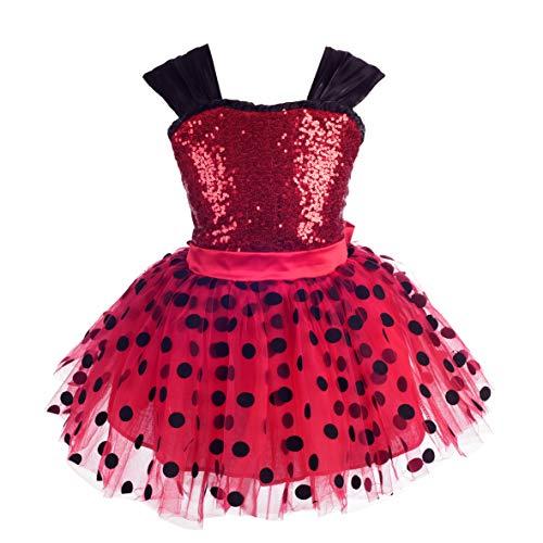 Lito Angels Mädchen Marienkäfer Polka Dots Tutu Kleid Ankleiden Geburtstag Weihnachten Halloween Party Outfit Größe 5-6 Jahre