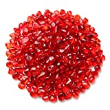 WAYBER Glass Stones, 1Lb/460g Irregular Sea Glass Pebbles Non-Toxic Artificial Glaze Crystal Stone for Vase Filler/Table Scatter/Aquarium Decoration/Gems Displaying, Red