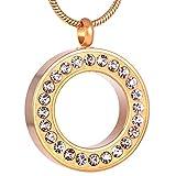 OPPJB Collar ERN para Cenizascollar con Colgante De Ceniza De Acero Inoxidable con Diamantes De Imitación Transparente