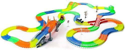 LINGLING-Verfolgen Elektrischer Zug Leuchtender Anzug Track Auto Elektrischer Zug Kinder Jungen Spielzeug Feriengeschenk Spinning Glide (Farbe   C)