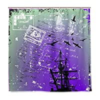 KAPANOU防水 シャワーカーテン グランジ背景に古代の船 かわいいシャワーカーテン ユニットバス バスルーム 芸術の装飾 180cmx180cm バスフック付き 取り付け簡単