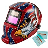 iMeshbean Auto Darkening Welding Helmet Solar Powered Hood Mask TN08E2 Grinding with Replaceable Extra Lens ANSI Approved Eagle Design Color Blue Red Golden USA Seller-Red