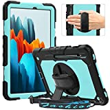 Timecity Galaxy Tab S7 11 ケース フィルム付き (SM-T870/ T875/ T878 ケース 2020新型) 360度回転の自立収納式スタンド ショルダーベルト ハンドストラップ付き ペン収納 頑丈 丈夫 使いやすい 耐衝撃 携帯便利 多機能 Galaxy Tab S7 11 インチ タブレットPCケース (ライトブルー)