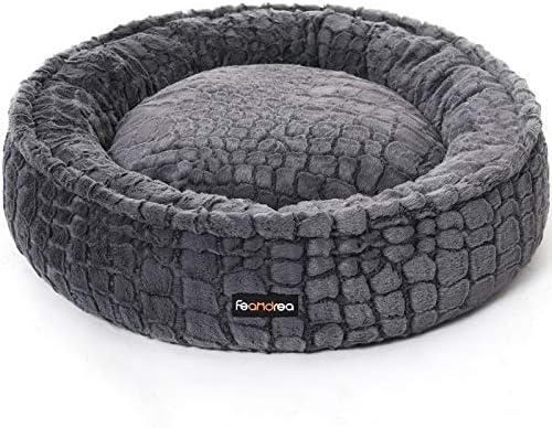 FEANDREA Dog Bed Pet Bed Plush Washable Anti Slip Bottom Round 30 Inches Dia Gray UPGW058G01 product image