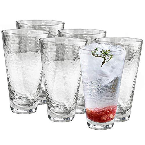 HORLIMER Juego de 6 vasos de cristal transparente Highball para agua, vino, jugo, latte