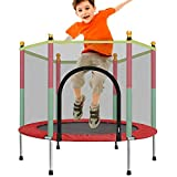 POEO Mini Trampolín para Niños, Trampolín de Jardín con Red de Seguridad, Trampolín de Juguete Pequeño para Interiores y Exteriores de 120 cm