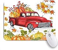 VAMIX マウスパッド 個性的 おしゃれ 柔軟 かわいい ゴム製裏面 ゲーミングマウスパッド PC ノートパソコン オフィス用 デスクマット 滑り止め 耐久性が良い おもしろいパターン (秋の感謝祭の国の農家のトラックカボチャと秋のカエデの葉とレトロな赤い素朴な秋の農場の収穫車)