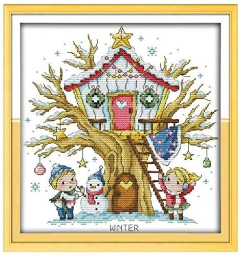 Kit de punto de cruz con tela impresa Kit de punto de cruz de bricolaje, adecuado para principiantes, niños y adultos, con patrón de impresión de 11 quilates-casa de madera de 16 x 20 pulgadas