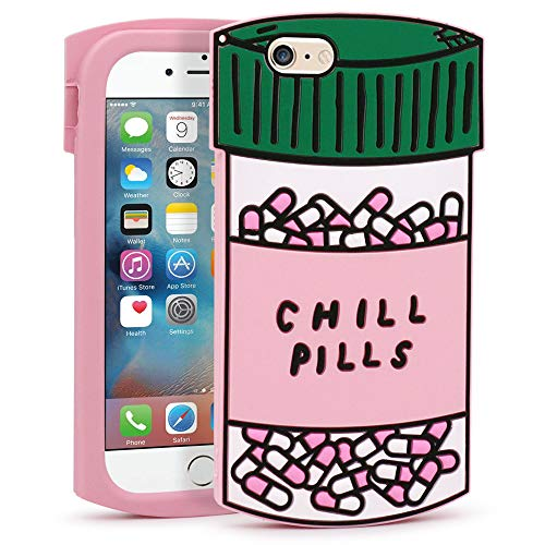 YONOCOSTA iPhone 6 Case, iPhone 6S Case, Funny Cute 3D Cartoon Chill Pills Capsule Bottle Shaped Soft Silicone Shockproof Back Cover for iPhone 6 / 6S (4.7' Inch) (Pills)