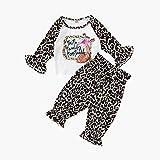 Kleinkind Baby Mädchen Aufflackern Ärmel Brief Drucken T Shirt Tops + Leopard Hosen Outfits