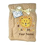 Zak & Zoey Personalized Mane Man Lion Animal Plush Blanket for Baby Boy with Custom Name - 40 Inches