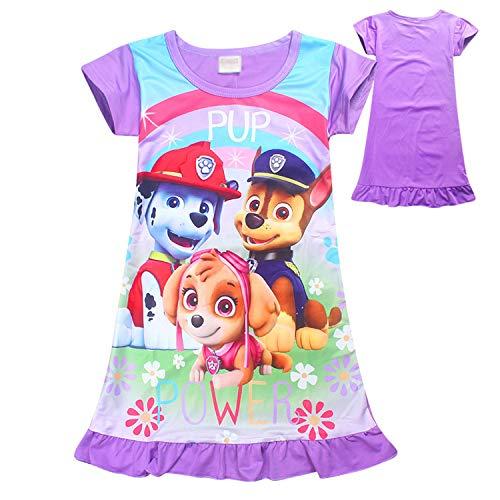 PCLOUD Cute Dog Girls Dress Nightgown Pajamas, Purple, 3-4Y