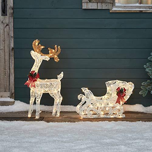 Lights4fun Figura di Renna di 70 cm di Altezza con Slitta Natalizia in Filo di Cotone con 160 LED Bianchi Caldi per Uso in Esterni