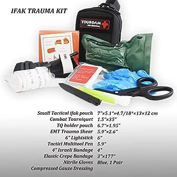 TOUROAM Trousse de premiers soins IFAK Trauma, pochette Micro Rip Away Molle Med, petit sac médical tactique entièrement approvisionné avec garrot pour la randonnée en camping militaire