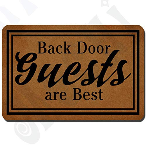 Funny Doormat for Indoor Outdoor - Back Door Guests are Best Entrance Floor Mat Funny Doormat Machine Washable Rug Non Slip Mats Monogram Bathroom Kitchen Decor 23.6 by 15.7 Inch