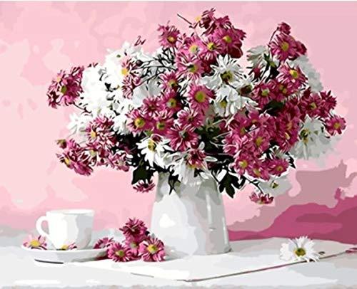 Pintura de bricolaje por números flores pintura al óleo pintada a mano pintura acrílica decoración del hogar regalo único divertido en casa A19 40x50cm