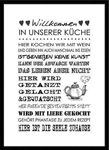 artissimo, Spruch-Bild gerahmt, 51x71cm, PE6002-ER, Willkommen in unserer Küche.., Bild, Wandbild mit Spruch, Spruch-Poster mit Rahmen, Geschenk-Idee, Wand-Deko, Plakat, Kunst-Druck, Typographie, Text, Schrift, Zitat