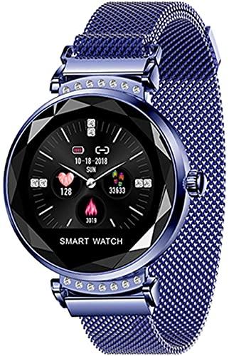 H2 Pulsera Inteligente Señoras 3D Diamante Cristal Frecuencia Cardíaca Presión Arterial Monitor de Sueño Impermeable Reloj Inteligente para Android IOS-C