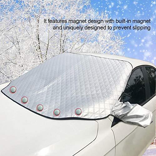 Funda para parabrisas de coche extragrande para nieve y hielo, universal para todas las estaciones, se adapta a cualquier coche, camión, SUV, furgoneta, al aire libre, cubierta de nieve y parabrisas visera parasol, evita la lluvia, las heladas, la nieve, los rayos UV, resistente al viento