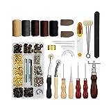 LAEMALLS Cuir Outil de Bricolage Kit, 28 Pièces Outils de Maroquinerie Main Couture Cuir Bricolage d'Artisanat, Kit de Gravure sur Cuir Leather Craft Tools pour Piquer, Marquer, Travailler, Coudre#4