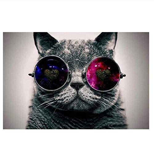 QUNAQ Creative Animals Lienzo Cuadro al óleo con gafas de galaxia, pósteres e impresiones de gato cuadros de pared para dormitorio decoración del hogar, 60 x 80 cm, sin marco