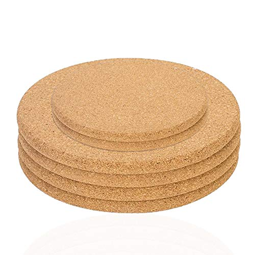 Sonku Juego de 6 posavasos de corcho, redondos, color marrón, absorbente, ideal...