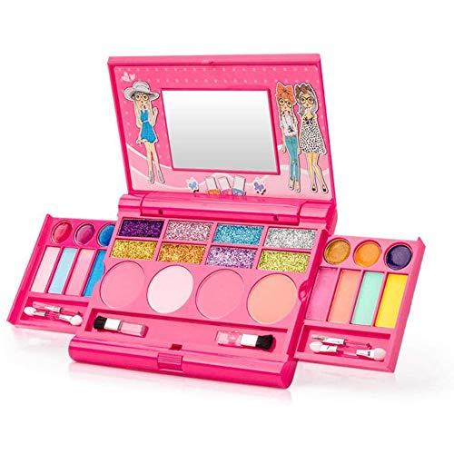 Bento Make-up-Set für Mädchen, Hochwertige Aufklappbare Schminkpalette mit Spiegel & sicherem Verschluss, SICHERHEITSGEPRÜFT, UNGIFTIG, für Kinder Mädchen Make-up Spielz,Rosa