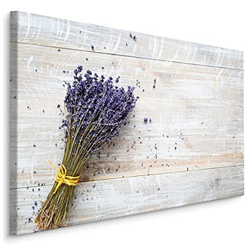 Muralo Cuadro en lienzo de 100 x 70 cm, plantas naturales, flores y lavanda, hojas moradas, lienzo artístico para dormitorio o sala de estar, diseño XXL, 100 cm x 70 cm x 100 cm x 70 cm