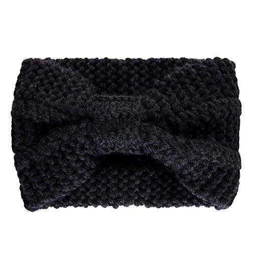 LAEMILIA Serre-Tête Bandeau Cheveux Femme Laine Tricoté Elastique Couvre-Oreille Turban Foulard Wrap Headwrap (Noir)