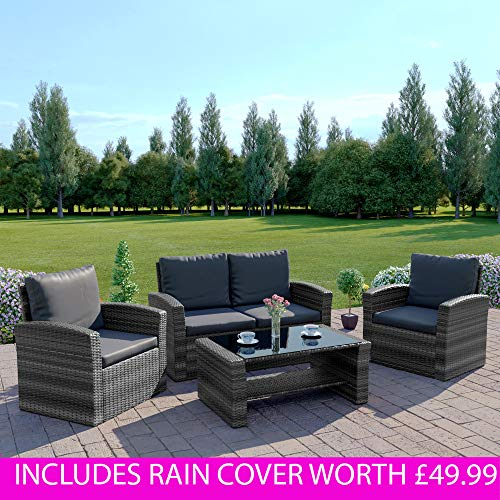 New Rattan Wicker Weave Garden Furniture Patio Conservatory 2 Or 3 Seater Sofa Sets Algarve 211 Dark Grey