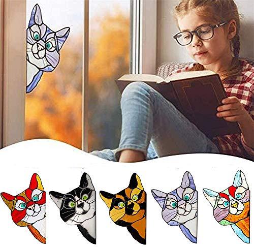 Colgantes De Ventana De Vidriera De Gato Que Mira A Escondidas, Atrapasol De Gato De Vidriera, Colgador De Ventana De Gato De Vidriera Para Colgar En La Ventana (púrpura)
