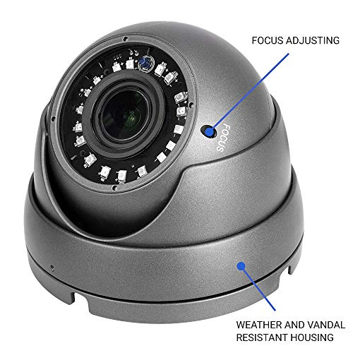 R-Tech 1080p 4-in-1 AHD/CVI/TVI/Analog Outdoor Dome Security Camera SMD High-Intensity IR LEDs for Night Vision - 2.8-12mm Varifocal (Black) RVD70B