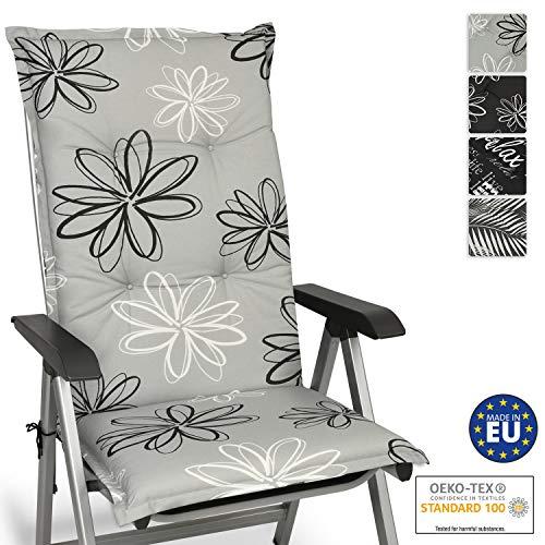 Beautissu Cojín para sillas de Exterior y jardín con Respaldo Alto Floral 120x50x6 cm tumbonas, mecedoras, Asientos cómodo Acolchado Resistente a Rayos UV
