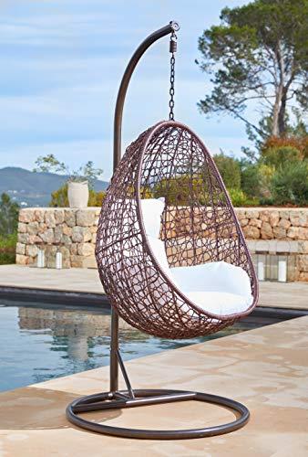 Kideo® Hängesessel Komplettset inkl Gestell & Sitzkissen, Indoor & Outdoor, Polyrattan, Swing Chair, Gartenmöbel, Lounge (braun/weiß)