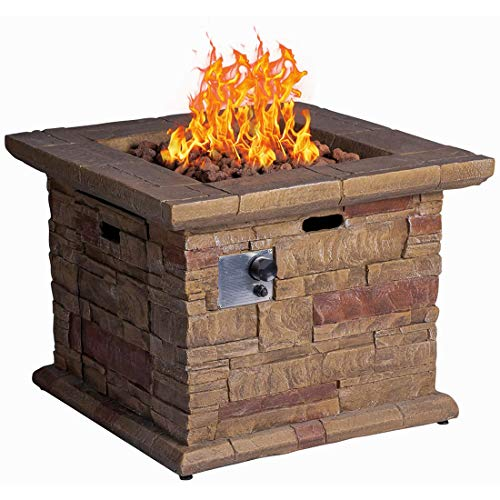 IUUCEAI Propane Fire Pit Table, 32'' Square Brick Texture Fire Table with Free Lava Rocks for Outside Garden, Backyard, Outdoor Patio
